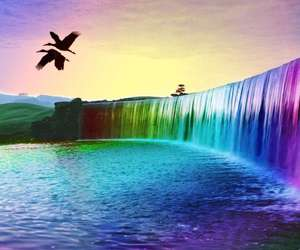 waterfall, rainbow, and water image