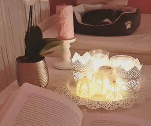 book, candles, and cat image
