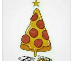 pizza, arvore, and natal image