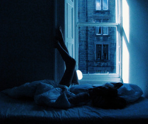 girl, bed, and blue image