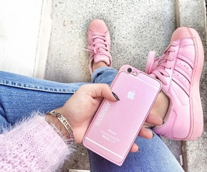 apple, jeans, and pink image