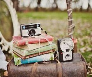 vintage, camera, and book image