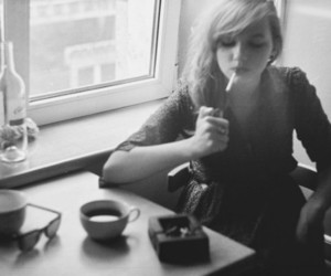 cigarrette, girl, and smoke image