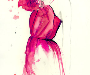 coral, fashion illustration, and haute couture image