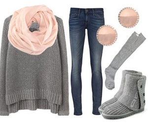 outfit, winter, and jeans image