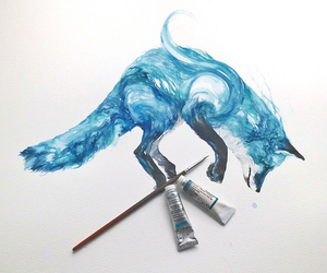 art, fox, and blue image