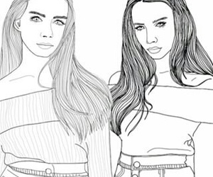 girls, hair, and outlines image
