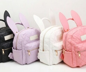 bag, backpack, and bunny image