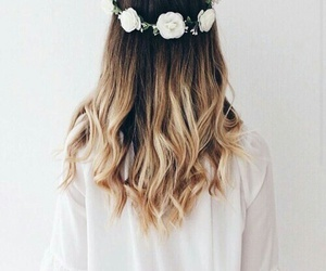 flower crown, blonde ombre hair, and white flower crown image