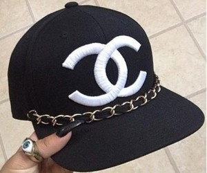 chanel, black, and cap image