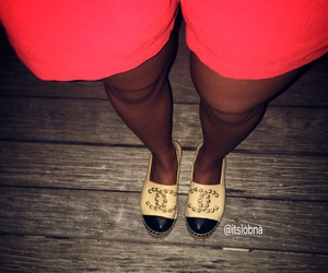 chanel flats, tanned, and espadrilles image