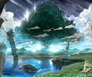anime, nature, and tree image