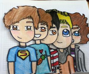 drawing, liam payne, and niall horan image