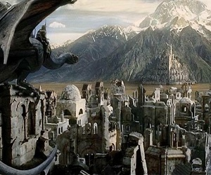city, lord of the rings, and montein image