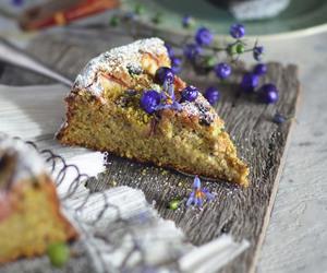 peach, cake, and pistachio image