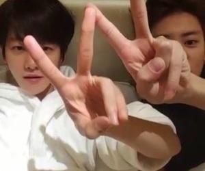 exo, baekyeol, and v app image