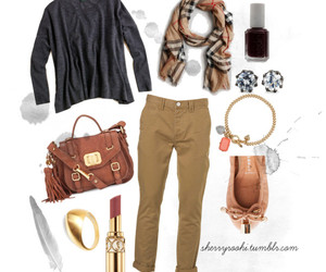 ballet flats, boyfriend jeans, and Burberry image