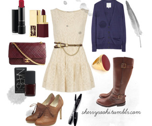 boots, burgundy, and cardigan image