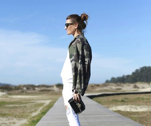 green jacket, military jacket, and white jeans image