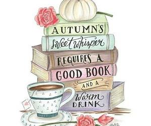 book, autumn, and tea image
