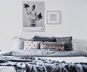 bed, grey, and room image
