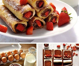 food, strawberry, and nutella image