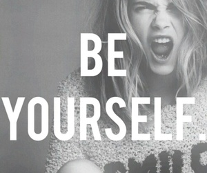 be yourself, black white, and quotes image