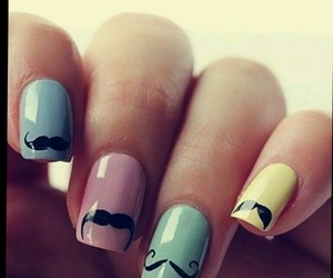 nails, mustache, and moustache image