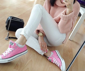 pink, sweater, and white image