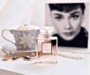 chanel, perfume, and audrey hepburn image