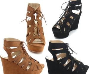wedges, black wedges, and strappy wedges image