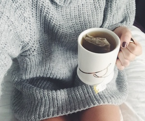 tea, sweater, and cozy image