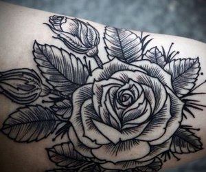inked, tattoo, and rose image