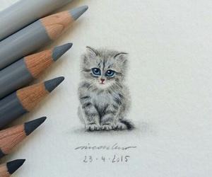 cat, art, and grey image