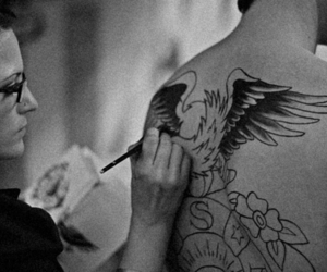 black and white, tattoo, and boy image