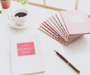 coffee, diary, and pink image