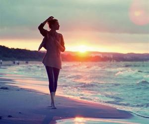 sun, sunset, and walk image