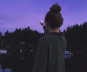 girl, indie, and purple image