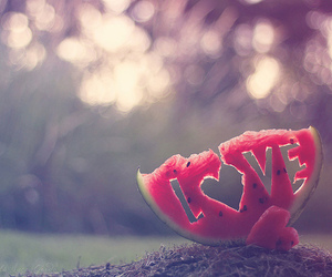 love, watermelon, and heart image