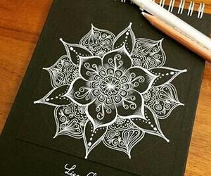 art, mandala, and white image