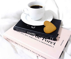 book, chanel, and coffee image