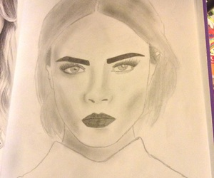 art, drawing, and delevingne image