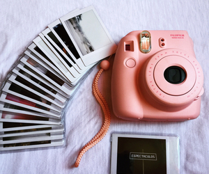 app, easel, and instax image