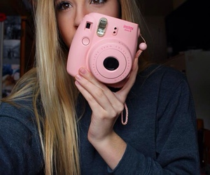 blonde, pink, and polaroid image