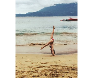 beach, girl, and gymnastic image