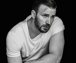 chris evans, captain america, and black and white image