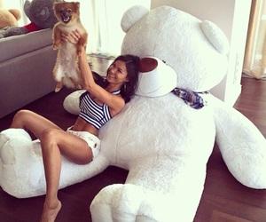 girl, dog, and teddy bear image