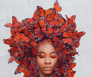 butterfly and model image