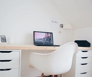 bedroom, computer, and decor image