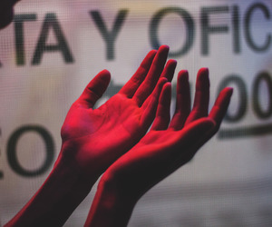 red, hands, and grunge image